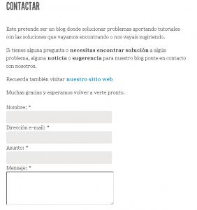 Formulario Contacto WordPress
