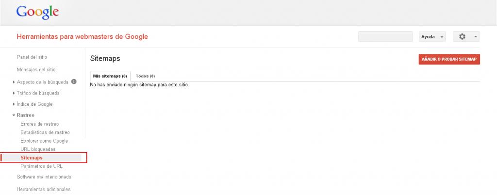 Configurar sitemap para rastreo Google Webmaster Tools