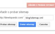 Añadir o probar Sitemap Google Werbmaster Tools