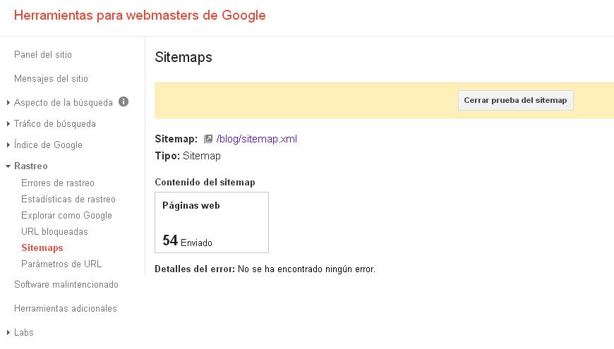 Google Webmaster Tools resumen de la prueba de sitemap