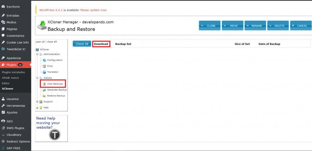 XCloner listado backups